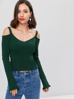 V Neck Rib Knit Cold Shoulder Sweater - Deep Green S