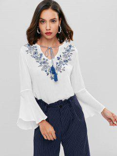 Floral Embroidered Bell Sleeve Top - White L