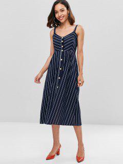 Fit And Flare Striped Midi Dress - Midnight Blue M