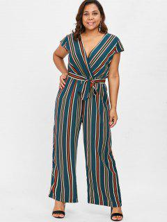 Plus Size Striped Surplice Jumpsuit - Beetle Green 4x
