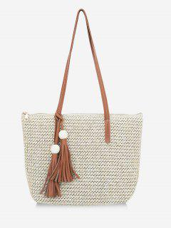 Straw Braided Large Capacity Shoulder Bag - Light Khaki