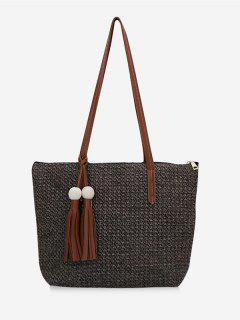 Straw Braided Large Capacity Shoulder Bag - Taupe