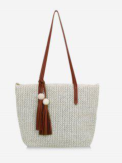 Straw Braided Large Capacity Shoulder Bag - Beige