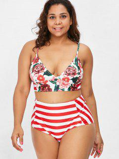 Striped Floral Plus Size High Waisted Bikini Set - Red 2xl