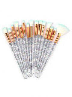 15Pcs Transparent Handles Soft Silky Eye Cosmetic Brush Set - Transparent