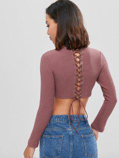 Long Sleeve Lace Up Knit Cropped Sweater - Lipstick Pink L