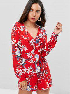 Ruffles Belted Floral Romper - Lava Red L