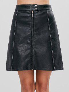 A Line Faux Leather Skirt - Black L