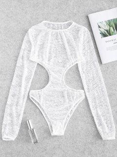 Sheer Lace Cut Out Lingerie Teddy Bodysuit - White L