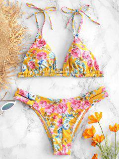 Ensemble De Bikini Fleur à Epaule Nouée - Brun Doré M