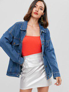Oversized Boyfriend Trucker Denim Jacket - Blue M