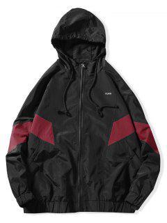 Color Block Full Zipper Bolsillo Lateral Con Capucha Impermeable Chaqueta - Rojo Xs