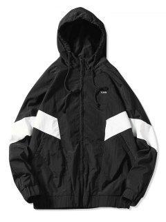 Color Block Full Zipper Side Pocket Waterproof Hooded Jacket - White S
