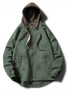 Contrast Zip Up Side Pockets Hooded Jacket - Army Green Xl