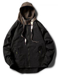 Contrast Zip Up Side Pockets Hooded Jacket - Black Xs