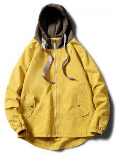 Contrast Zip Up Side Pockets Hooded Jacket - Yellow M