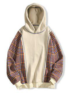 Seam Detail Checked Patch Fleece Hoodie - Apricot Xl