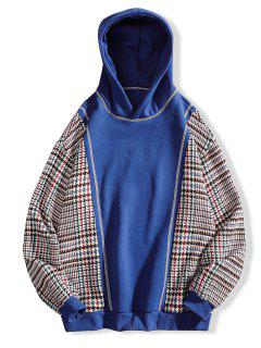 Seam Detail Checked Patch Fleece Hoodie - Blue 3xl