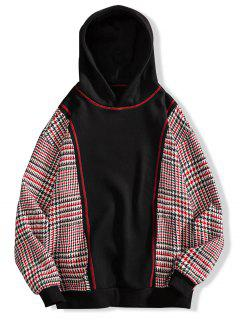 Seam Detail Checked Patch Fleece Hoodie - Black 4xl