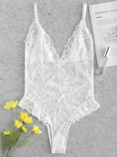 Sheer Lace Snap Crotch Lingerie Teddy Bodysuit - White S