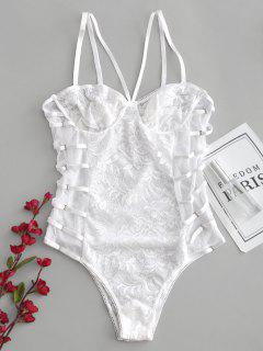 Snap Crotch Sheer Lace Caged Teddy Bodysuit - White M