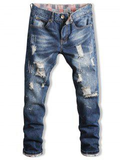 Zip Fly Faded Wash Distressed Jeans - Deep Blue 38