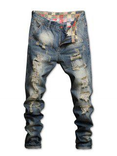 Waist Patch Ripped Straight Jeans - Blue 34
