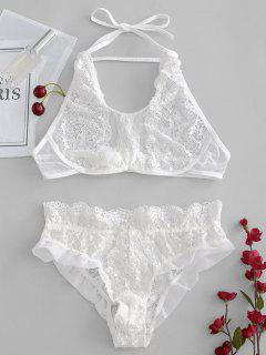Halter Sheer Lace Bra And Panty Lingerie Set - White L