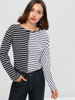 Contrasting Stripes Tee - Black S