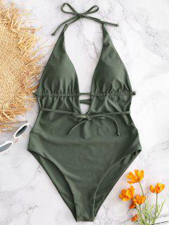 ZAFUL Halter Backless Swimsuit - Camouflage Green S