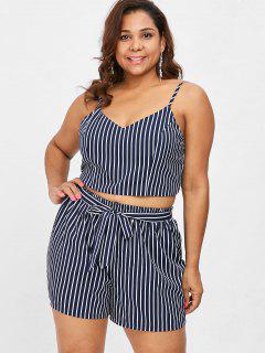 Plus Size Striped Cami Shorts Set - Deep Blue L
