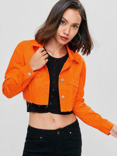 Cropped Button Up Jacket - Dark Orange M