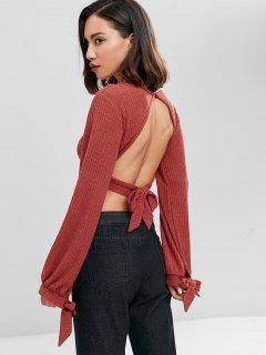 Knotted Cut Out Knit Top - Chocolate S