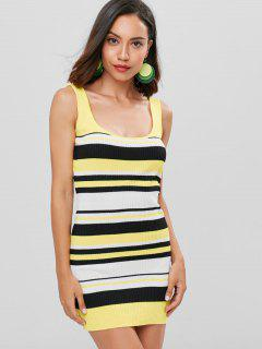 Striped Mini Tank Dress - Rubber Ducky Yellow L