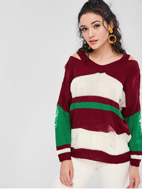 outfits Ripped Color Block Sweater - FIREBRICK ONE SIZE Mobile