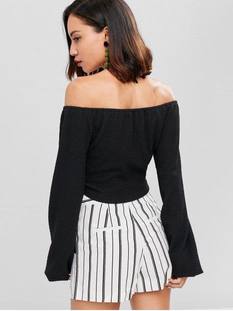 womens Off Shoulder Twist Front Top - BLACK L Mobile