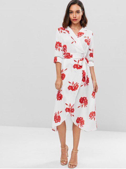 new Overlap Floral Surplice Dress - WHITE L Mobile