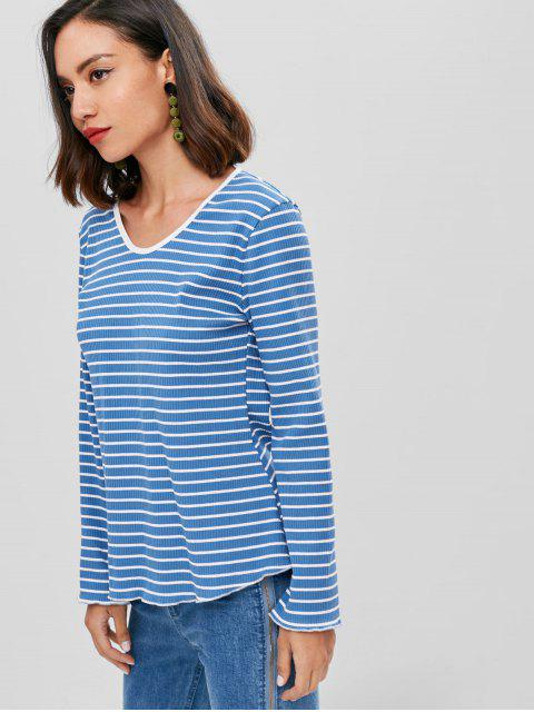 fancy Striped Ribbed Cut Out Top - WINDOWS BLUE S Mobile