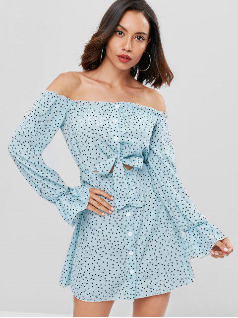 sale Polka Dot Off Shoulder Mini Dress - BABY BLUE L Mobile
