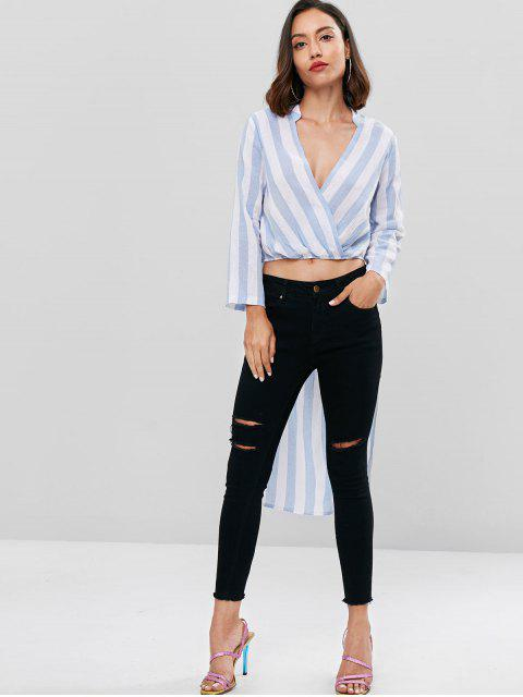 outfit High Low Striped Longline Top - PASTEL BLUE M Mobile