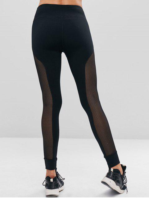 unique Perforated High Waisted Sports Leggings - BLACK L Mobile