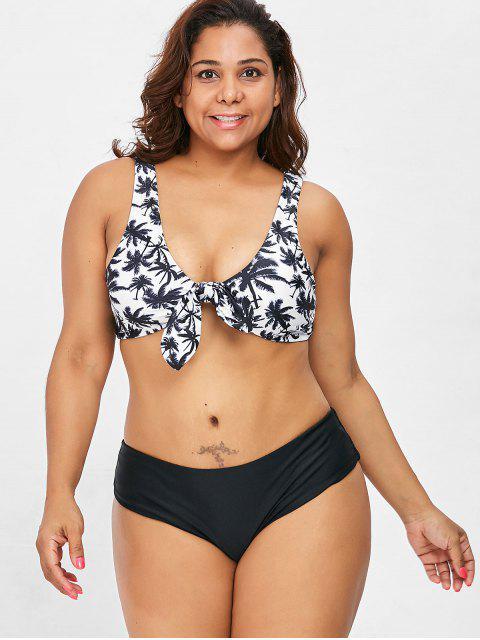 hot Knot Coconut Palm Plus Size Bikini Set - BLACK 3X Mobile