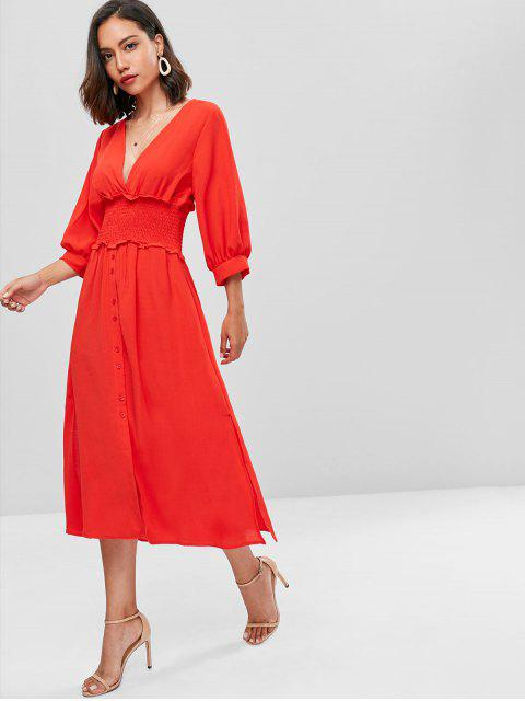 Puff Sleeve Plunge Smocked Une robe de ligne - Rouge S Mobile