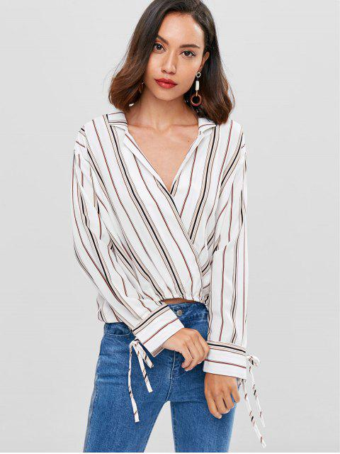 buy Striped Surplice High Low Blouse - WHITE L Mobile