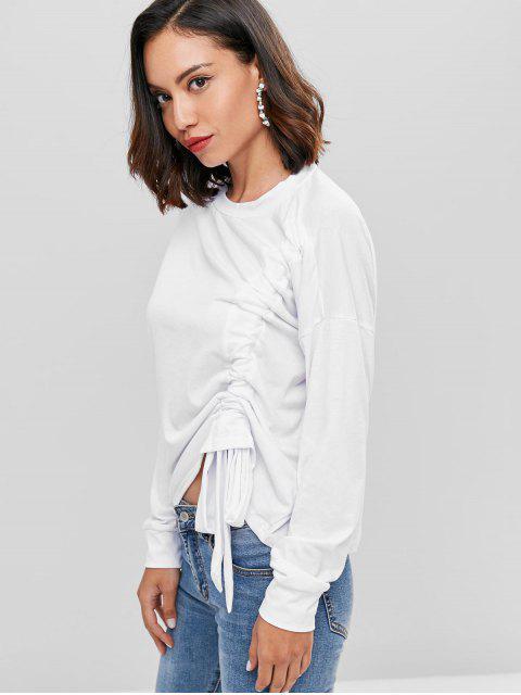 sale Cinched Front Drop Shoulder T-shirt - WHITE L Mobile