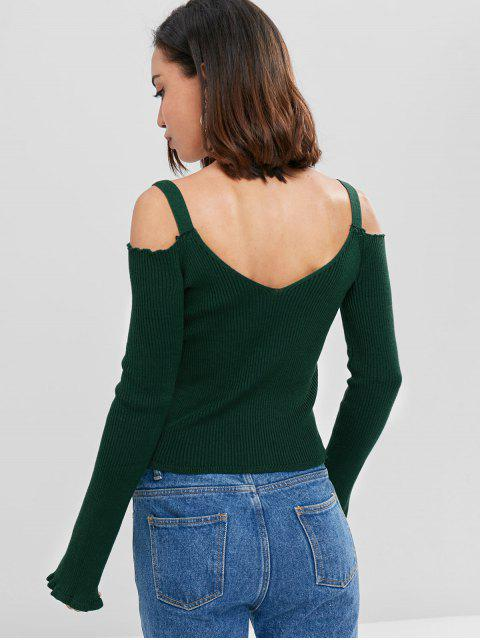 outfit V Neck Rib Knit Cold Shoulder Sweater - DEEP GREEN M Mobile