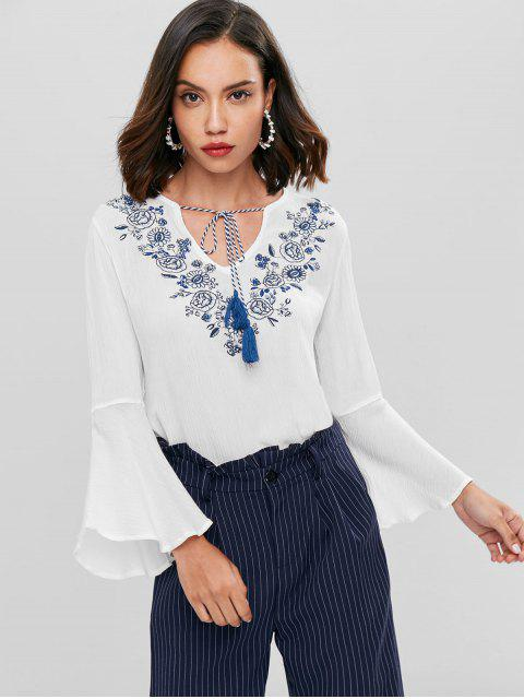 latest Floral Embroidered Bell Sleeve Top - WHITE S Mobile