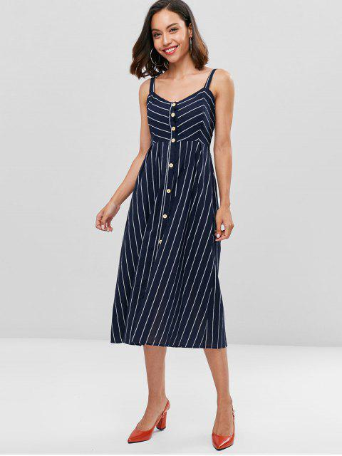 trendy Fit and Flare Striped Midi Dress - MIDNIGHT BLUE L Mobile