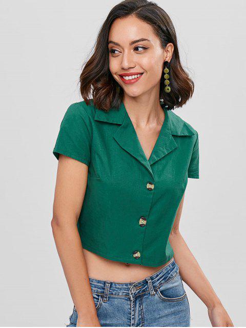 ladies Camp Collar Cropped Bowling Shirt - SEA GREEN L Mobile
