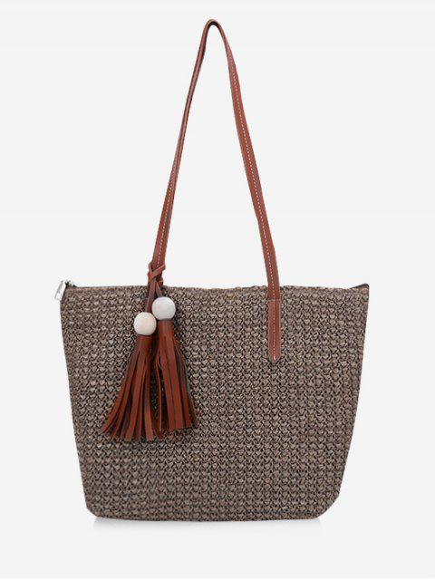 womens Straw Braided Large Capacity Shoulder Bag - BROWN  Mobile